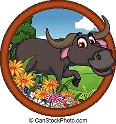 buffalo cartoon posing - vector illustration of buffalo ...