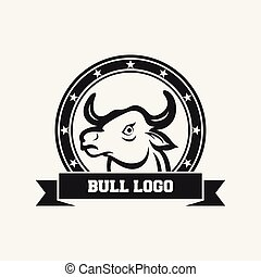 Bull head mascot icon design template