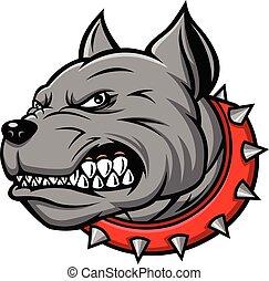 bulldog head mascot on white background