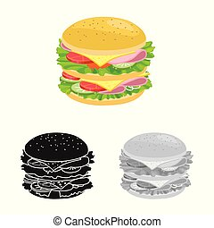 Isolated object of bun and burger sign. Web element of bun and turkey stock vector illustration.