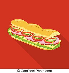 Isolated object of burger and hoagie symbol. Web element of burger and bun stock symbol for web.