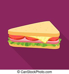 Isolated object of burger and hoagie logo. Web element of burger and triangle stock symbol for web.