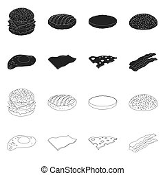 Vector illustration of burger and sandwich icon. Collection ...