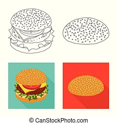 Vector illustration of burger and sandwich icon. Collection of burger and slice stock symbol for web.