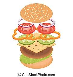 Vector illustration of burger on white background.