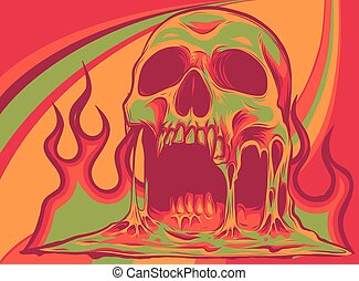 Vector illustration of burning skull with flames
