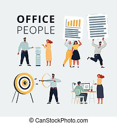 Vector illustration of Business characters scene. Teamwork in modern business office. Office people working at workspace. Work with files, cooler, aim and arrow on white background.