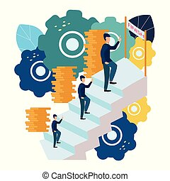 Vector illustration of business graphics, a man climbs the career ladder. Raising careers to success, flat icons.