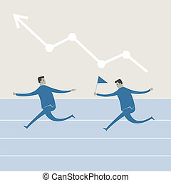 Vector illustration of business man and graph