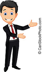 business man cartoon presenting - vector illustration of...