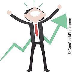 Business Man Raising his Hands Feeling Happy with Arrow Going Up Behind