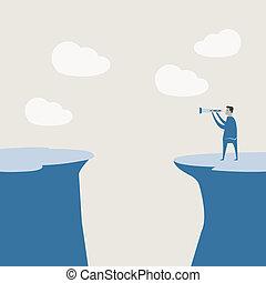Vector illustration of business man use binnocular...