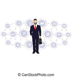 Businessman in a business process