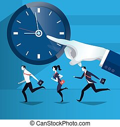 Vector illustration of business people catching up the time