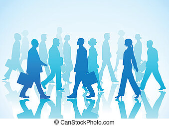 Business people in silhouette walki