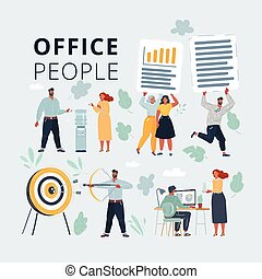Vector illustration of Business Peoples acting in workplace. Office people working at workspace. Work with files, cooler, aim and arrow on white background.