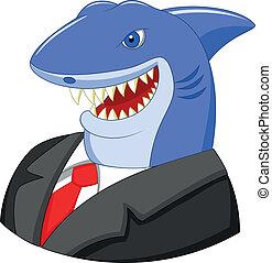 Vector illustration of Business shark cartoon