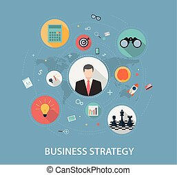 Business Strategy on flat style