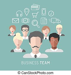 Vector illustration of business team management in flat style.