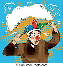 Vector illustration of businessman clown in jester hat, pop art
