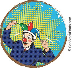 Vector illustration of businessman clown in jester hat, pop art