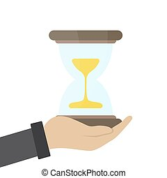 Vector illustration of businessman hand hold a hourglass. Business and time management concept. Successful start up presentations on white background.