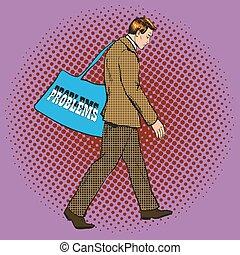 Vector illustration of businessman having problems in pop art style