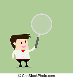 Vector illustration of businessman holding a magnifying glass. Flat design