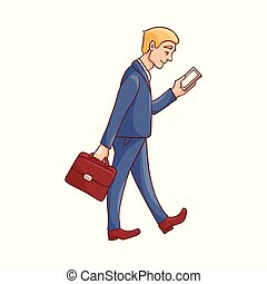 Vector illustration of businessman in blue suit with briefcase and mobile phone.