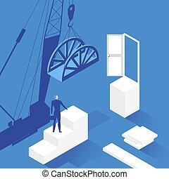 Vector illustration of businessman in front of opened door