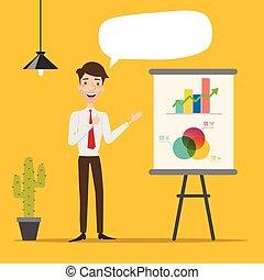 Vector illustration of businessman making a presentation.