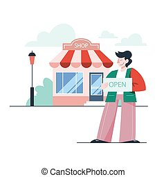 Vector illustration of businessman opening a store