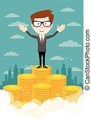 businessman proudly standing on the huge money staircase