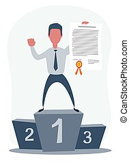 Vector illustration of businessman proudly standing on the winning podium holding up an award certificate.