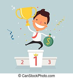 Vector illustration of businessman proudly standing on the winning podium holding up winning trophy