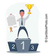 Vector illustration of businessman proudly standing on the winning podium holding up winning trophy and showing an award certificate.