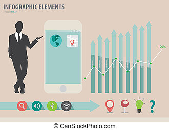 Vector illustration of businessman showing touchscreen ...
