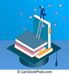 Vector illustration of businessman standing on pile of books