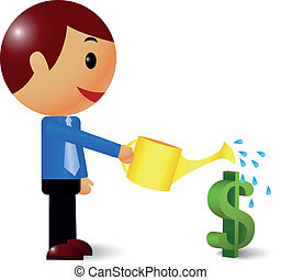 Businessman watering a money tree - Vector illustration of...