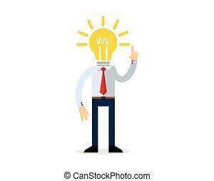 Businessman with a bulb head