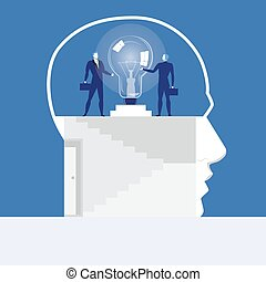 Vector illustration of businessmen holding on to idea bulb