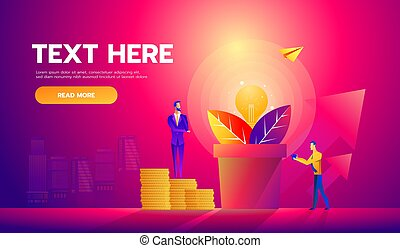 Vector illustration of businessmen picking dollars from money tree. Money plant. Business growth, financial success concept design element in flat style