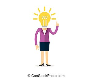Businesswoman with a bulb head