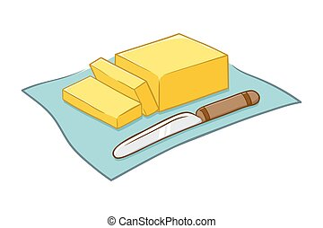 Vector illustration of a chopped butter block and a knife