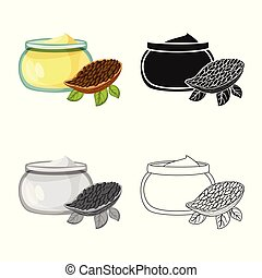 Vector illustration of cacao and butter sign. Set of cacao ...