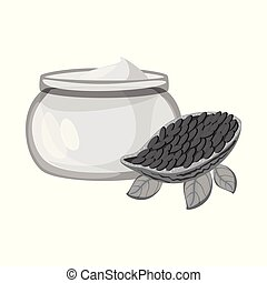 Vector illustration of cacao and butter symbol. Set of cacao...