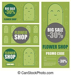 Vector illustration of cactus and flower shop discount coupon. Botanical flyer