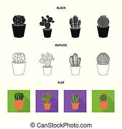 Vector illustration of cactus and pot logo. Collection of cactus and cacti stock vector illustration.