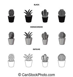 Vector illustration of cactus and pot logo. Set of cactus and cacti vector icon for stock.