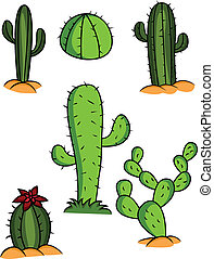 Cactus Collection - Vector Illustration Of Cactus Collection